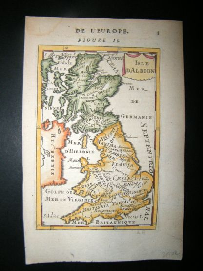 Mallet 1683 Antique Hand Col Map. Isle d'Albion. British Isles, UK | Albion Prints